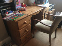 Traditional Style Pine Desk + Chair