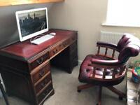 Mahogany Desk and chesterfield chair