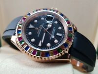 New boxed with papers black rubber bracelet black dial with markers Rolex Yachtmaster candie bezel