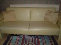 Sofa Bed Faux Leather Cream v.good condition Darlington best offer over £50
