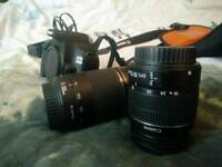 Canon dslr, 2 lenses and a case