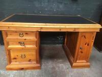 Fabulous twin pedestal leather top desk