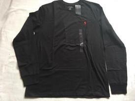 Ralph Lauren t shirt long sleeves round neck black size large new £15