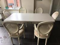 Large table and 6 chairs shabby chic