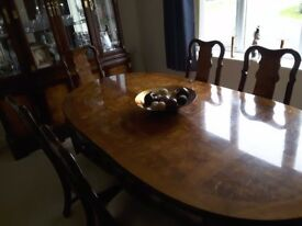 Dining table, chairs with matching display units