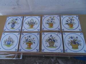 Huit fa ences carrel es de la collection desvres motifs floraux carrelage ebay for Comcolle carrelage desvres