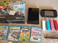 Wii U Black Console 32GB Premium Pack 4 Games 4 Nunchucks 4 Motionplus Controllers Mario Kart 8