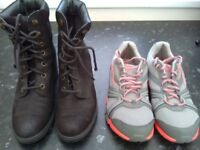 Ladies leather boots in black and grey fabric trainers both size 6