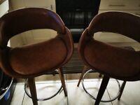2 x Brown leather Dunelm Bar Stools