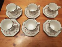ETERNAL BEAU COFFE CUPS AND SAUCERS 6 OFF