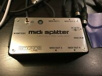 MIDI Splitter 1-in-4-out MIDI Thru Box + 5 MIDI Cables For Synthesizer