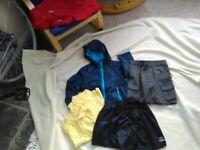 Boys nursery school clothes bundle. Age 3-4. Includes 2 yellow polo shirts + jacket + shorts