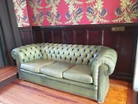 Big Green Leather 3-Seater Sofa