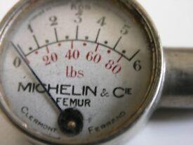 Vintage Mitchelin Tyre Pressure Guage And Storage Tin Weymouth
