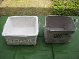 White Wickerwork Basket and H&M Grey Cotton Basket for £6.00
