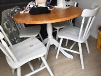 Round grey pine table