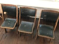 3x folding antique church chairs