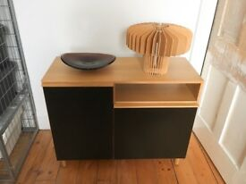 Habitat Sideboard / Unit / Cabinet with Doors - shelved inside; Black and Oak Veneer