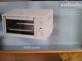 Sabichi Mini Oven + Grill Unused, Boxed like new, with Timer Baking Tray and Grill Rack Clean Cooker