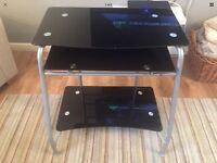 Black glass 3 tier desk. Bedroom/office