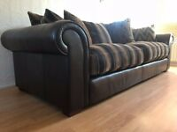 Multiyork Designer Collins & Hayes Large Dark Brown 4 Seater Leather and Fabric Sofa