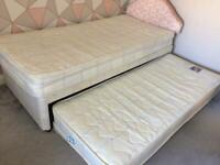 CAN DELIVER- SINGLE TRUNDLE PULL OUT BED & 2 MATTRESSES + HEADBOARD