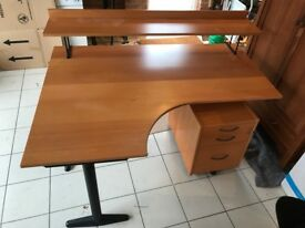 Ikea Business desk with shelf and filling pedestal, v good condition.