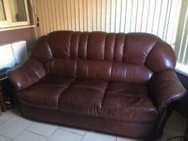 Leather 3 & 2 seater settees