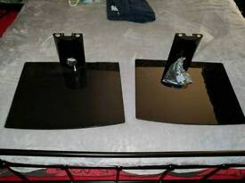 2 black glass media shelves for sky xbox ps4 etc with fittings
