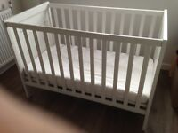 hardly used baby cot + mattress for sale