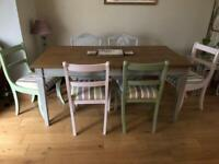 "4x dining room chairs ""shabby chic"" ice cream colours"