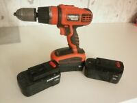 Black & Decker Drill 18v Hammer Drill c/w 3 batteries and new charger