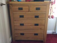 Beckingham Solid Oak Bedroom Furniture - Chest of drawers with 2 matching bedside tables