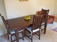 Beautiful handmade Indonesian wood table and chairs -Lombok