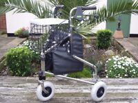 STRONG 3 WHEEL ROLLATOR WITH SHOPPING BASKET AND BAG .
