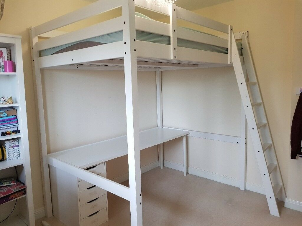 For Sale Ikea Stora White Double Loft Cabin Bed Including Mattress And Desk In Hertfordshire