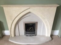 Moulded Gothic fireplace surround and hearth