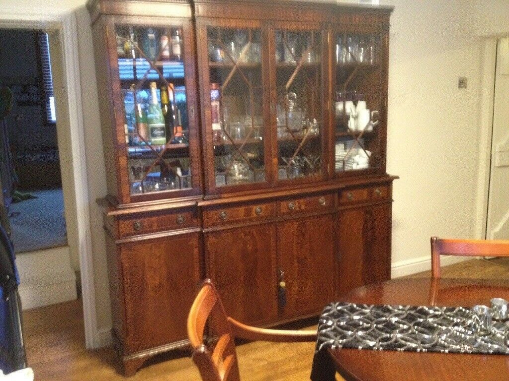 Dining Table Extendable With 6 Chairs Flame Fronted Mahogany Finish Sideboard And Display