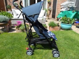 MOTHERCARE NANU FOLD UP STROLLER WITH RAIN COVER