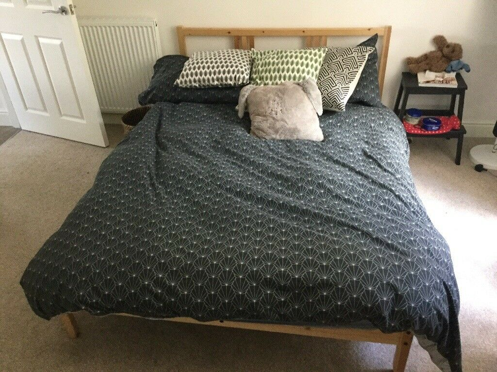 Ikea Neiden Double Bed Frame And Slatted Base Less Than 1 Year Old