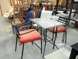 Patio Metal High Table and 2 Maching Armchairs Set - Used -