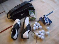 Golf set - 'FootJoy' golf shoes, Nike golf shoe bag, BEES bag of tees, Wilson TRUE golfballs