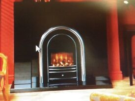 Black granite fire place surround