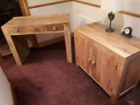 Solid oak desk and cupboard