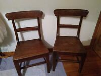 Pair of antique oak country chairs