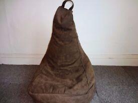 BROWN SUDE EFFECT BEANBAG CHAIR SEAT.