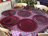 8 Deep Red Charger Plates in Storage Tray