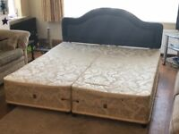 Superking Size Sprung Divan Base with Headboard (with fire resistant label)