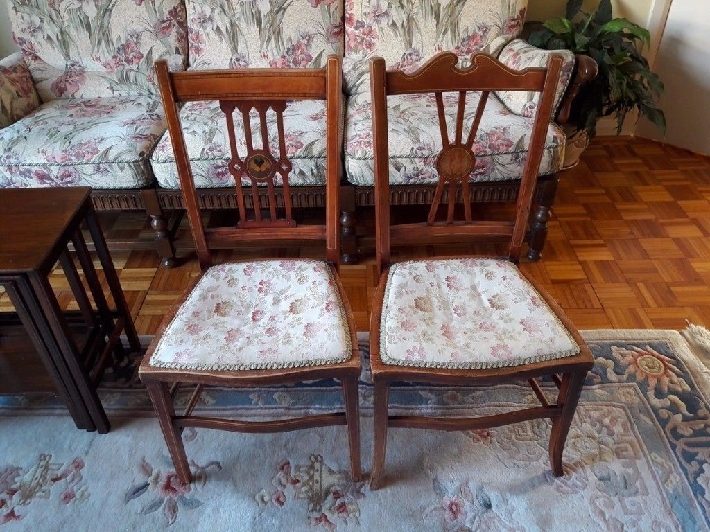Pair of Antique Ornate Solid Rosewood Chairs Rose Wood Wooden Chair (Set of  2) Beautiful Marquetry - Pair Of Antique Ornate Solid Rosewood Chairs Rose Wood Wooden