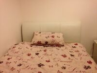 Double bed for sale Leather Bed Frame and mattress only 1 year old
